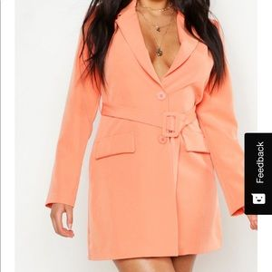 Boohoo - peach Plus Woven Belted Blazer Dress -NWT